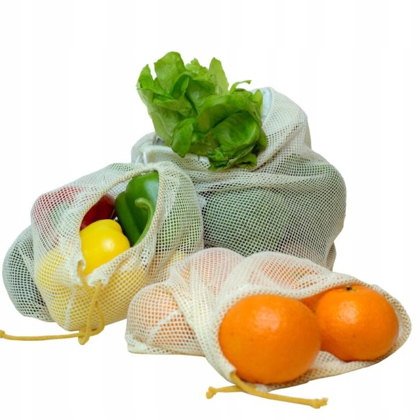 EKO woreczki ZERO WASTE siatki zakupy żywność 6szt