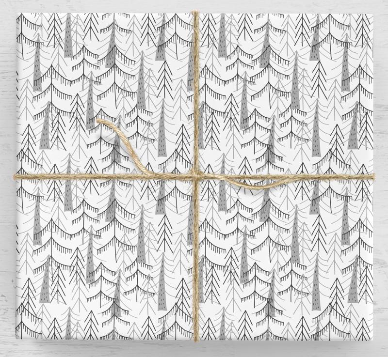 Darčekový baliaci papier na vianočný stromček Scandi 10 listov