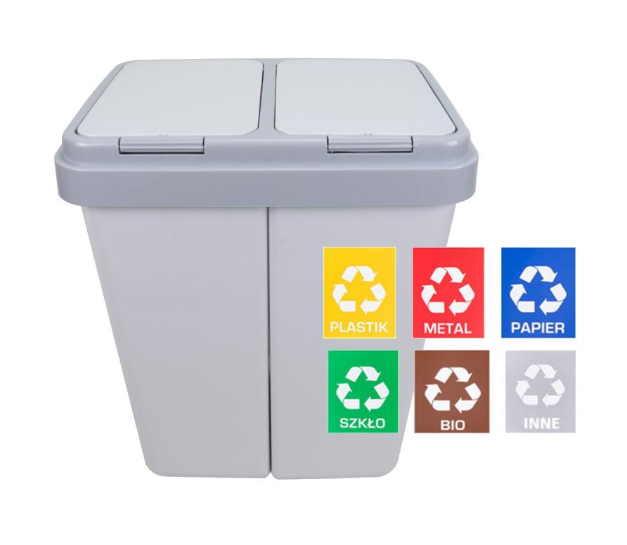 50L - 60L koše na odpad s dvoma komorami PRE SEGREGÁCIU