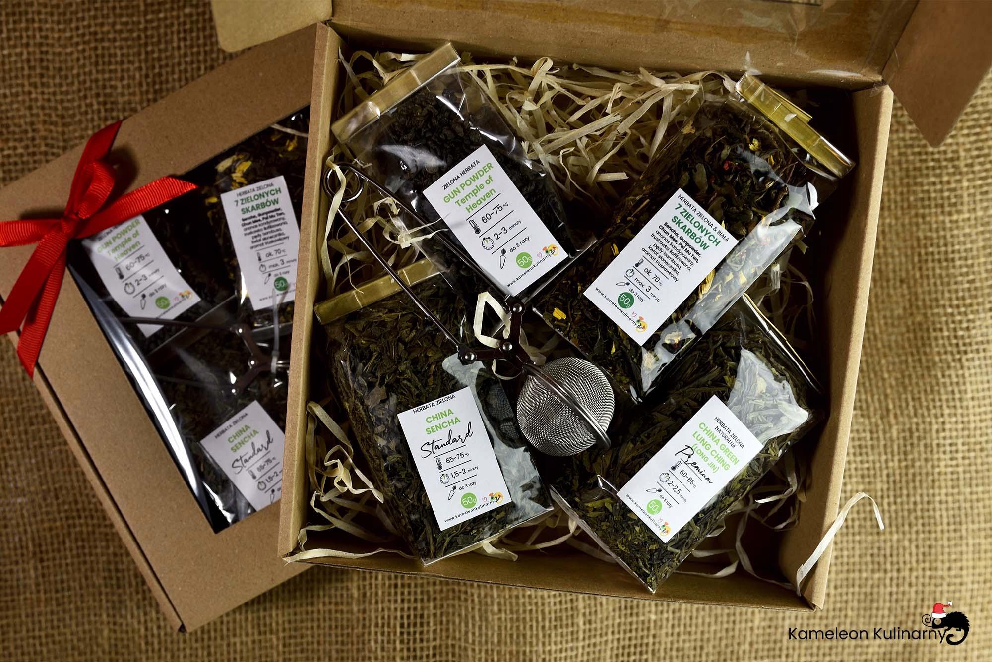 ZESTAW PREZENTOWY 4 herbaty zielone i zaparzacz Waga (z opakowaniem) 0.5 kg