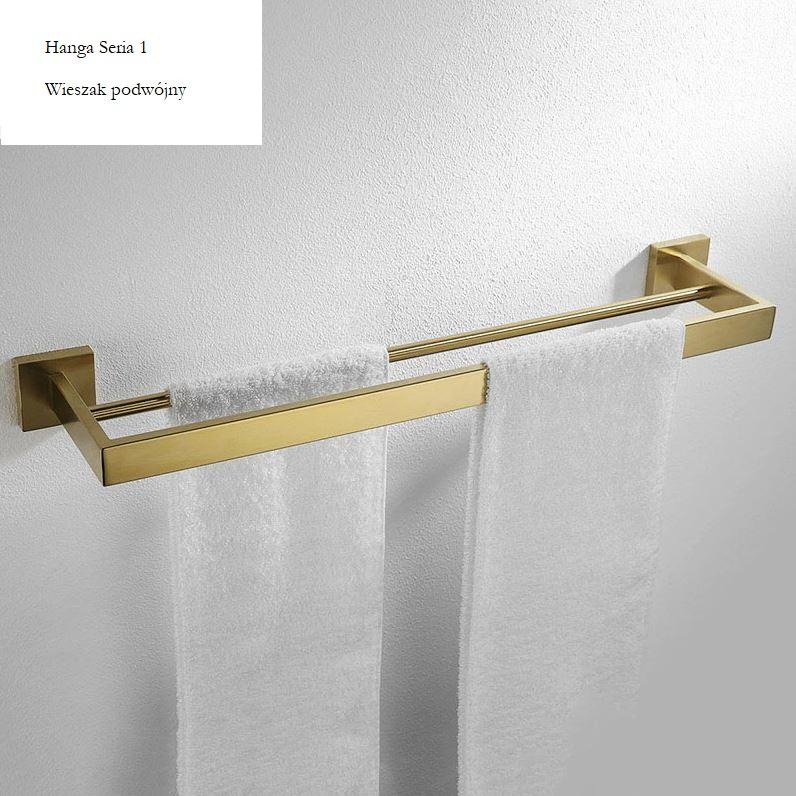 Dvojitý zlatý držiak na uteráky Hanga Series 1