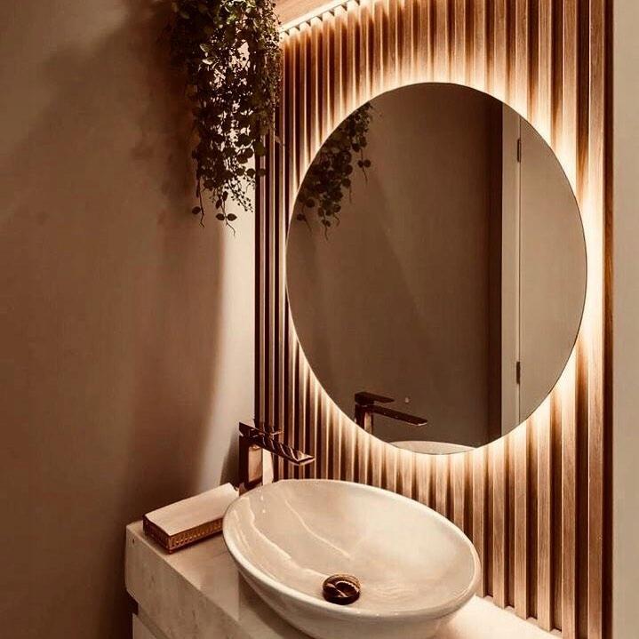 Круглое зеркало с подсветкой, 53 см, теплый светодиод