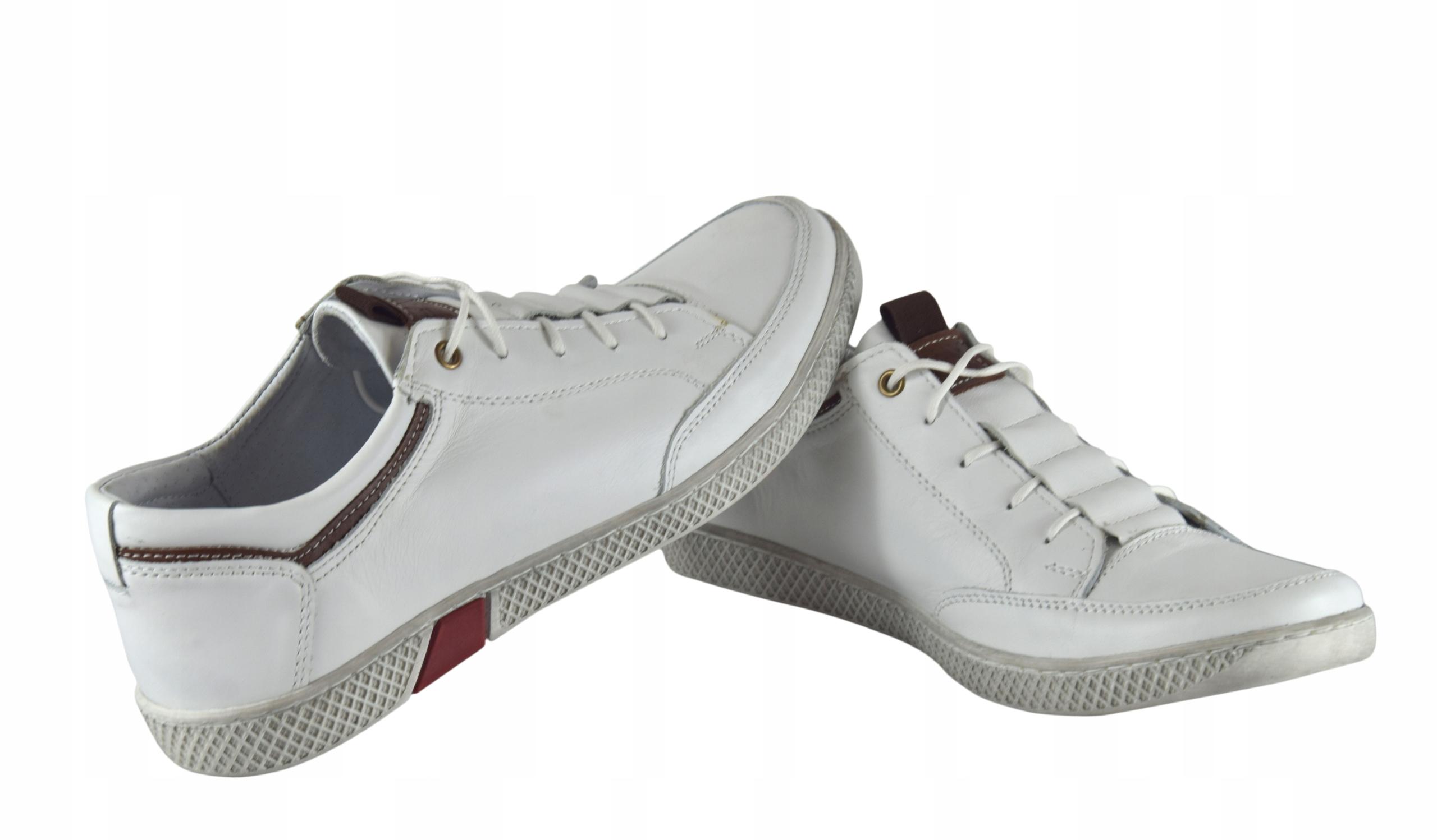 Białe buty skórzane sznurowane półbuty męskie 0448 Długość wkładki 27.3 cm