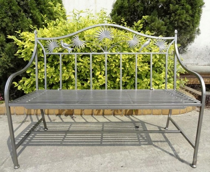Kovová záhradná lavica ART DECO s dekoráciami * Záhradná linka