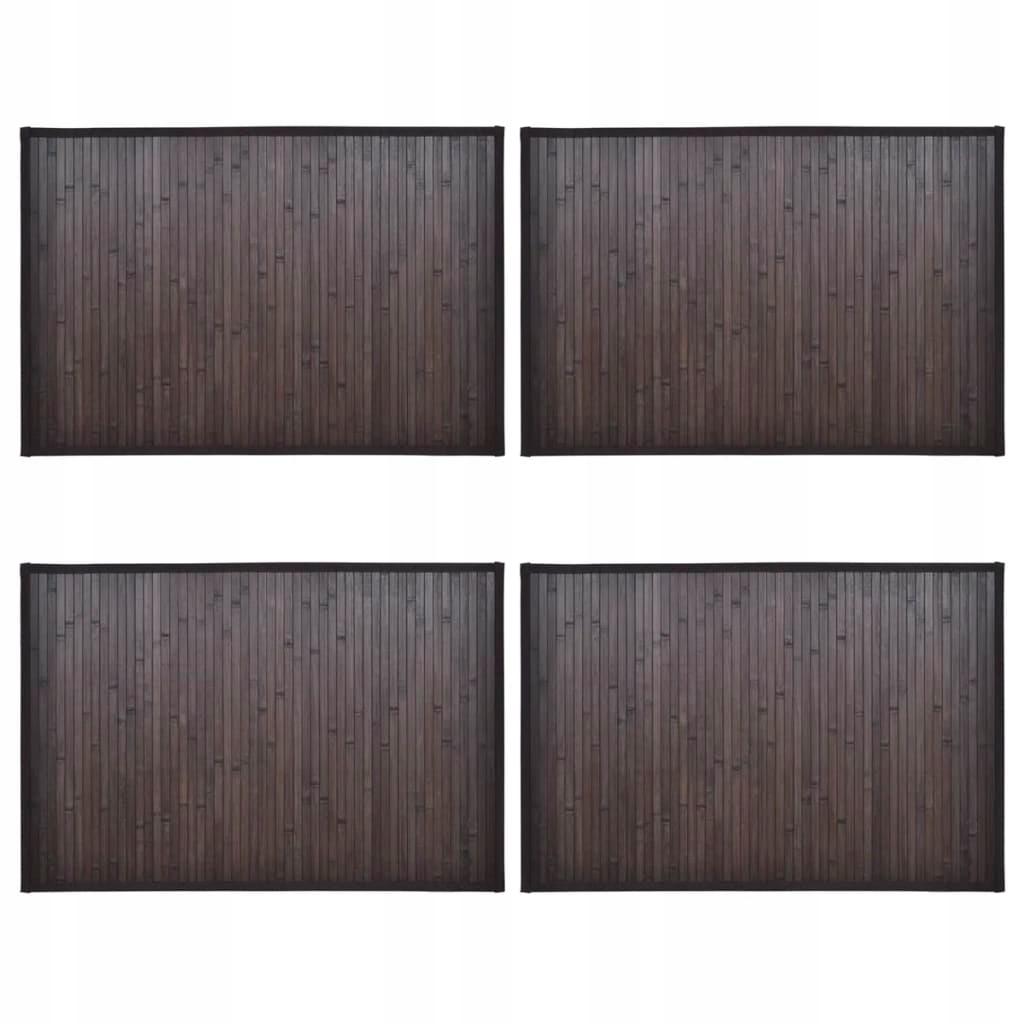 Bambusové kúpeľňové predložky, 4 ks, 60 x 90 cm, tienidlo