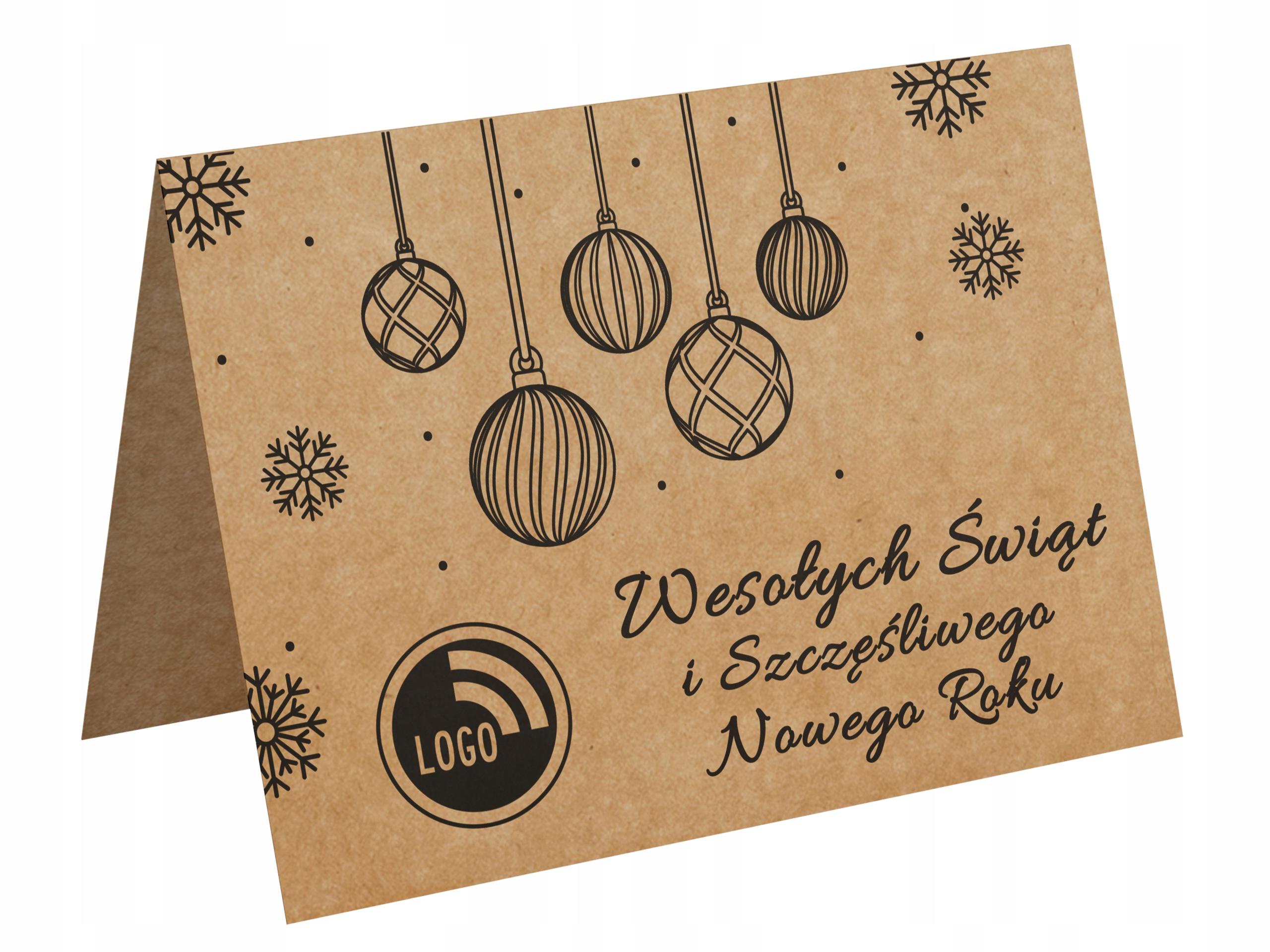 Slávnostné vianočné karty pre spoločnosti s logom - EKO