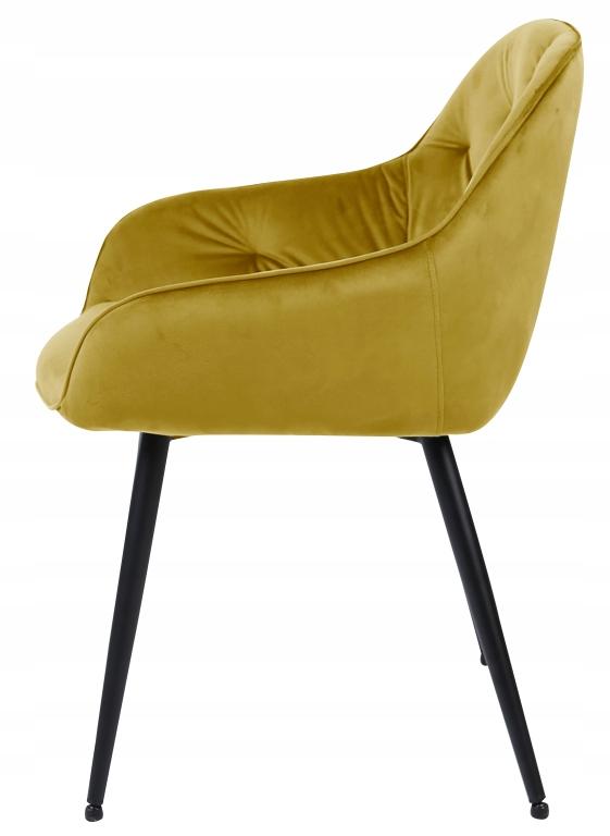 Krzesło tapicerowane Loren velvet curry Kolor korpusu czarny