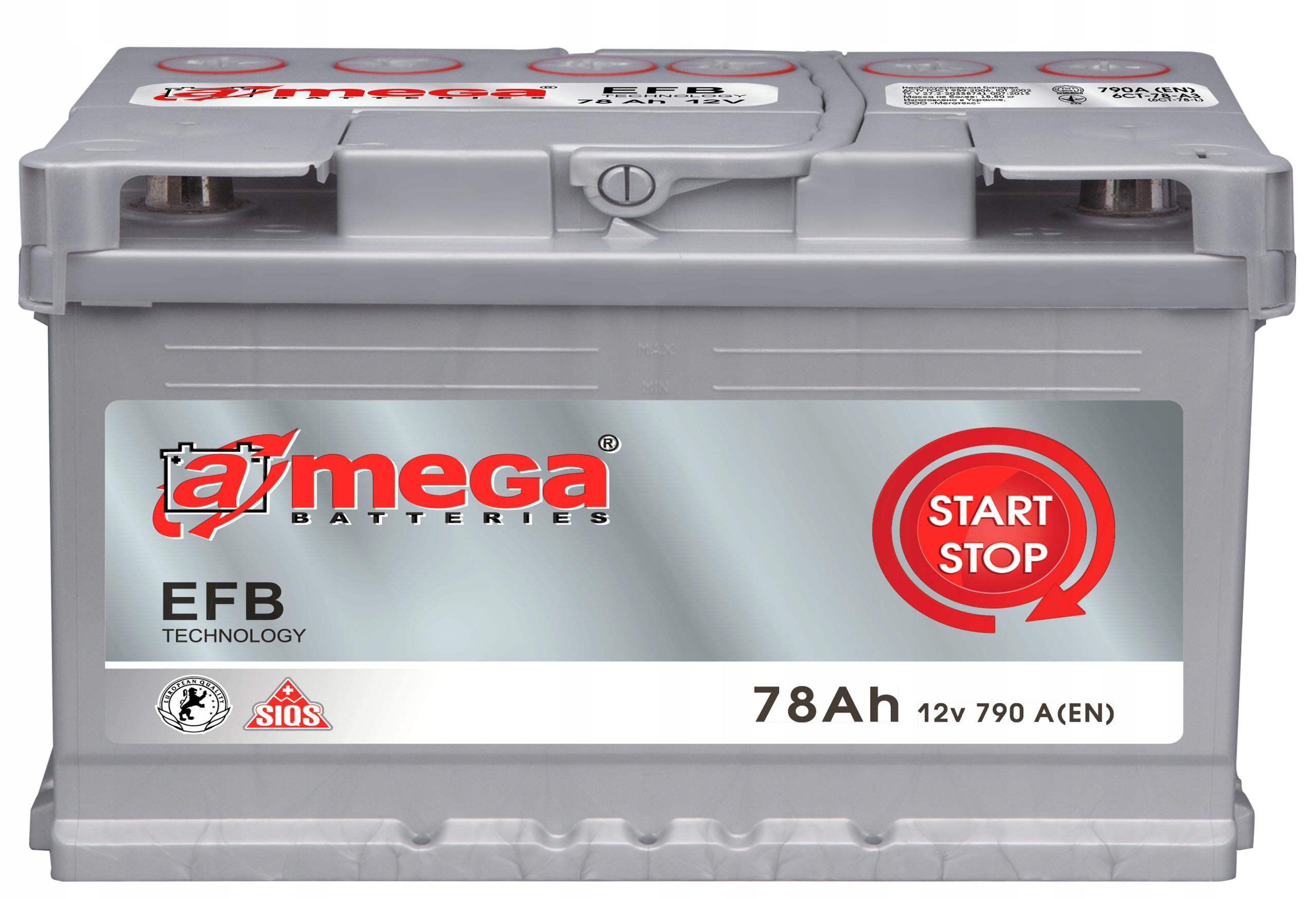 аккумулятор amega efb пуск стоп 12v 78ah 790a
