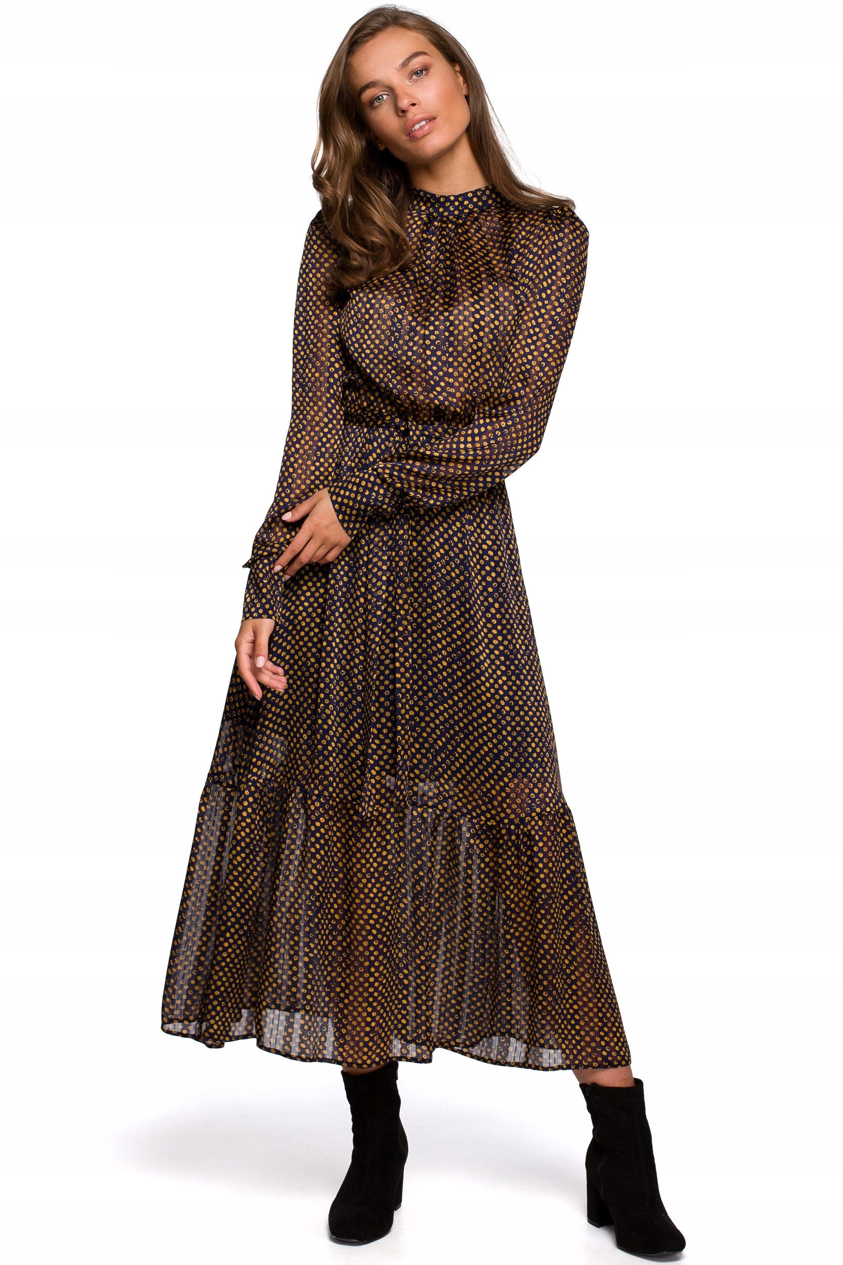 S238 Sukienka midi szyfonowa w groszki - model 3 3