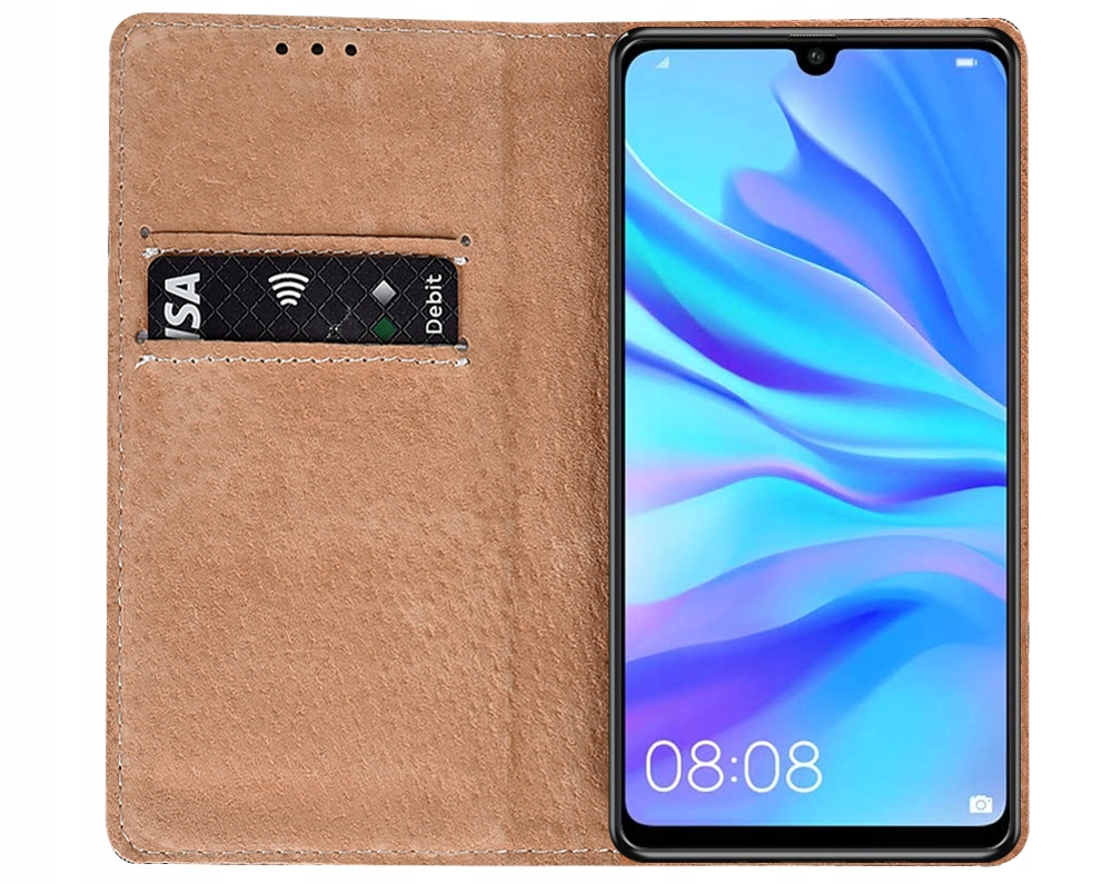 ETUI SKÓRZANE MAGNET + SZKŁO 9H do Huawei P30 Lite Kod producenta E74B