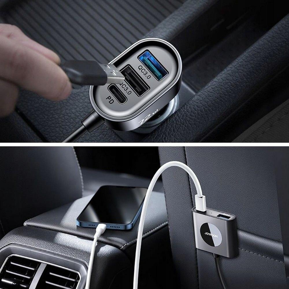 Ładowarka Samochodowa 72W 5-portów USB (JR-CL05) Złącza USB typ C USB