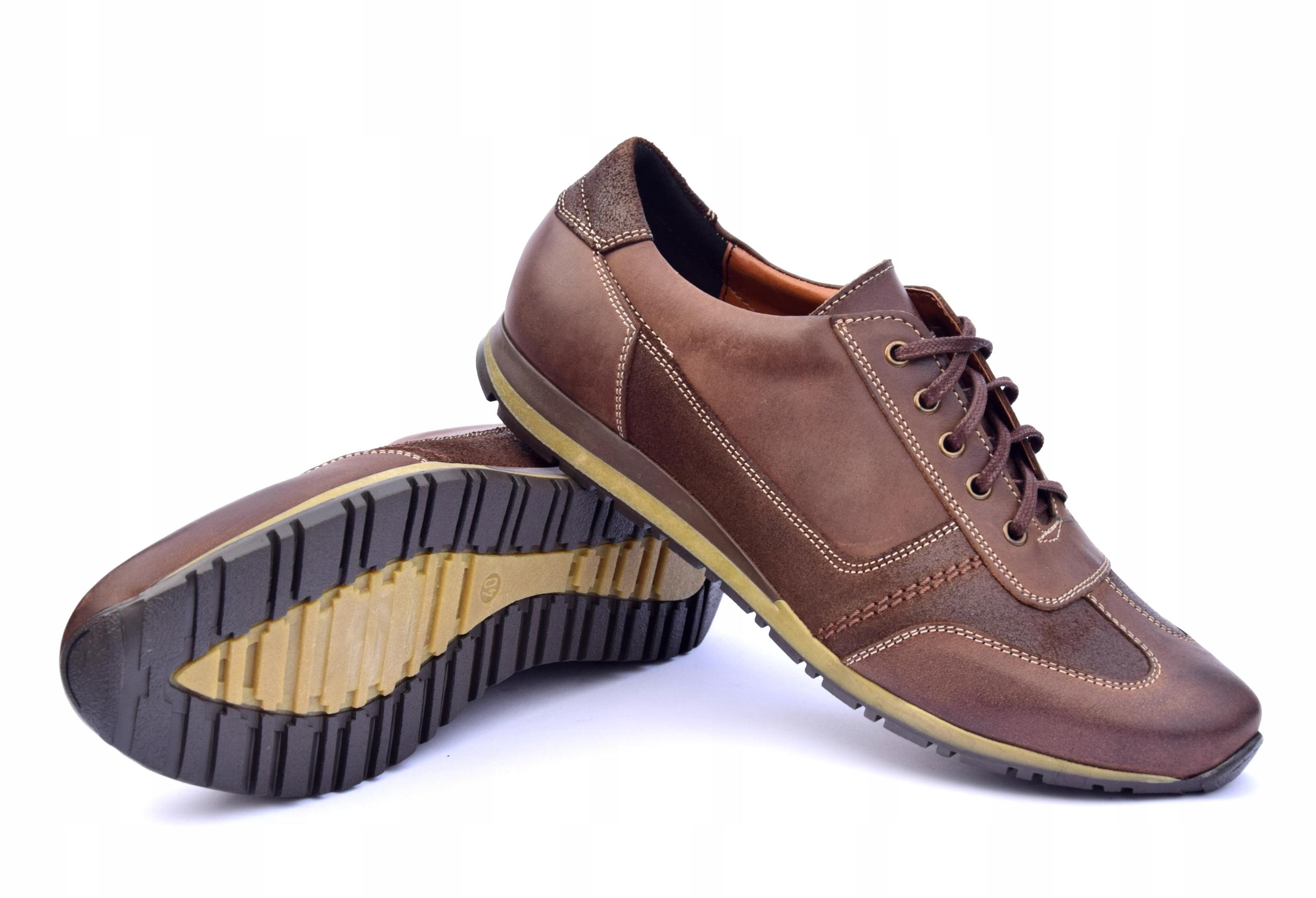 Półbuty skórzane brązowe obuwie ze skóry PL 294 Oryginalne opakowanie producenta pudełko