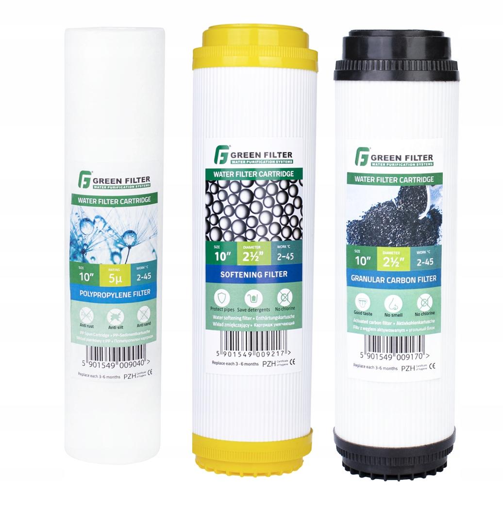 Набор картриджей для фильтров воды 3-х ступенчатый 10 ''