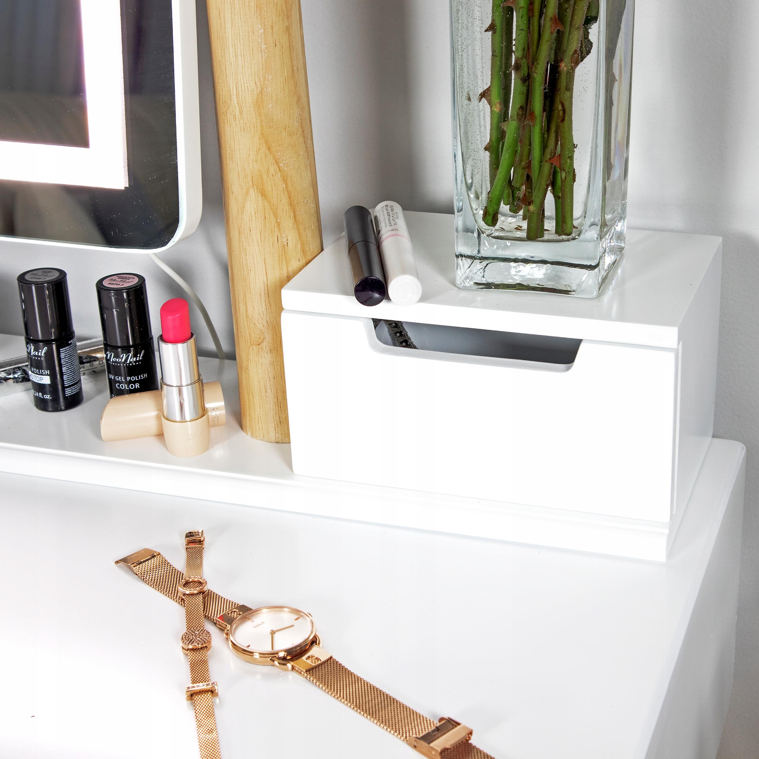 TOALETKA kosmetyczna z LUSTREM i TABORETEM +LED 4w Głębokość mebla 40 cm