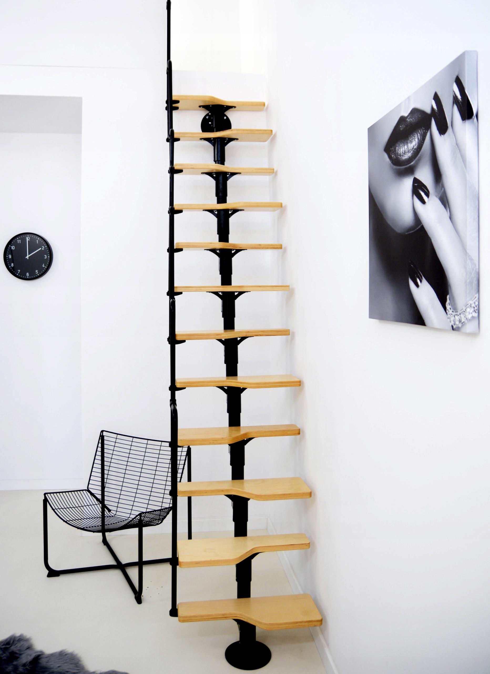 TWISTER BLACK мини модульная лестница, березовые ступени