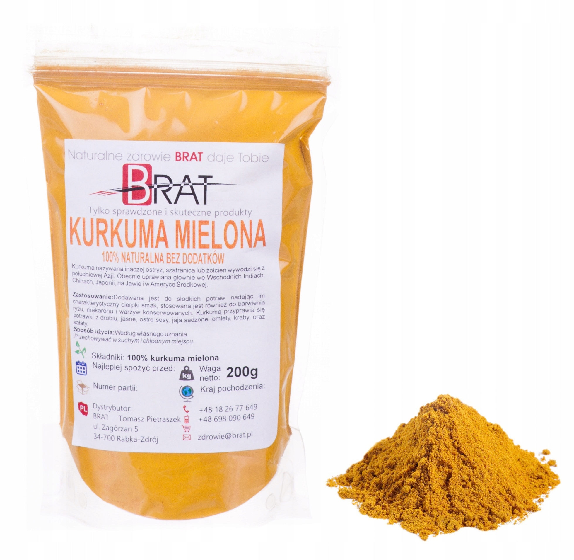 Item Ground turmeric 200g HIGH QUALITY without chemicals
