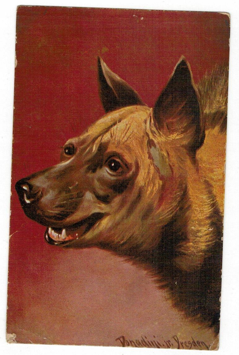 Pocztówka 1940 Pies malarstwo
