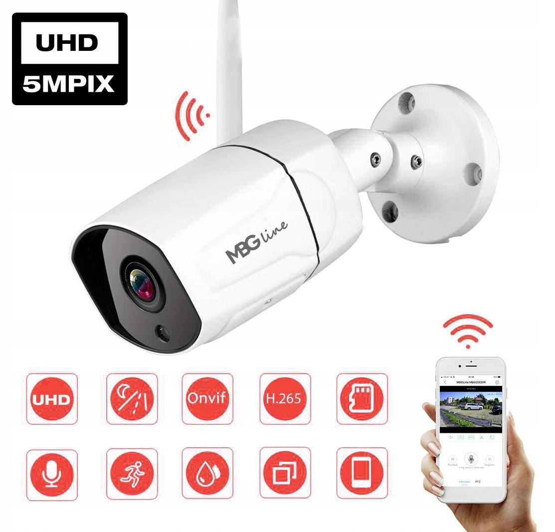 Zewnętrzna kamera IP H265 P2P UHD 5MPIX METAL WIFI Kod producenta MBG500DW