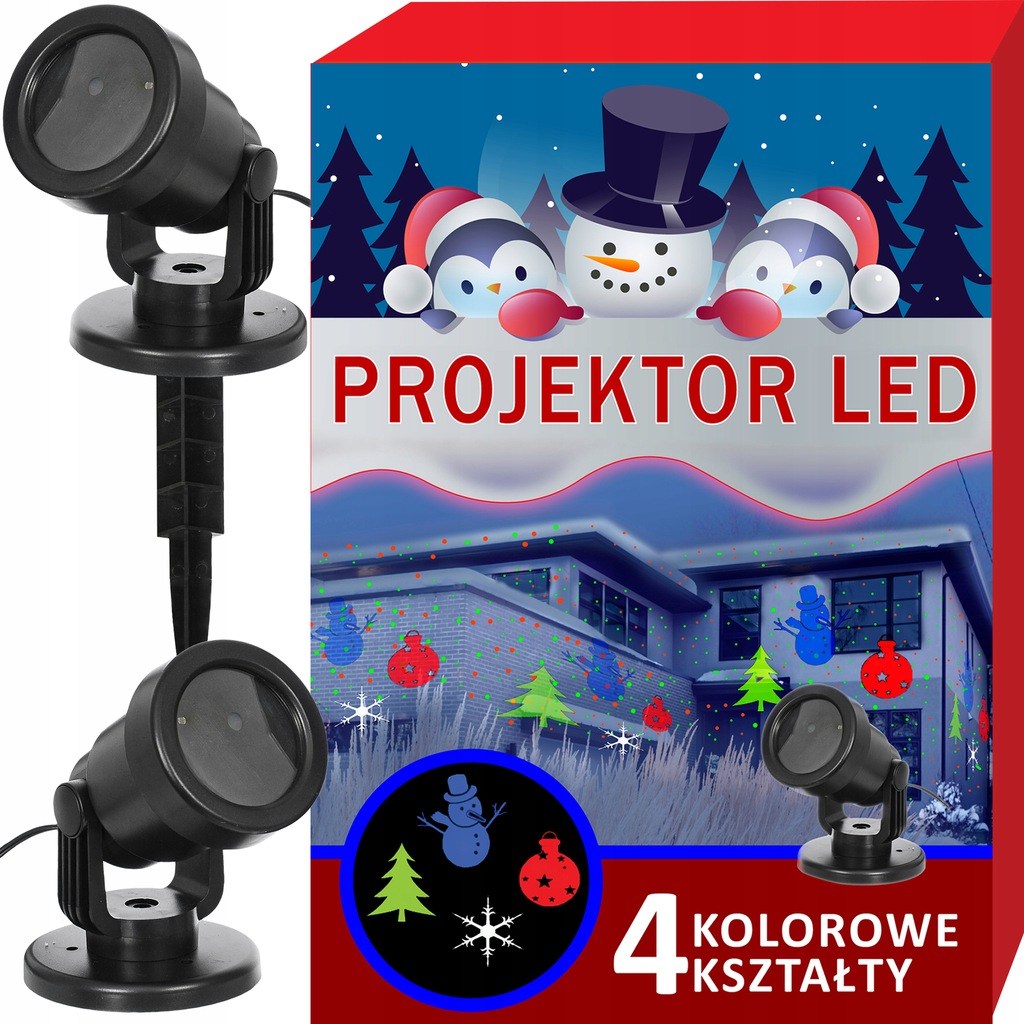 Projektor LASEROWY świąteczny LED 4 kształty 4w1