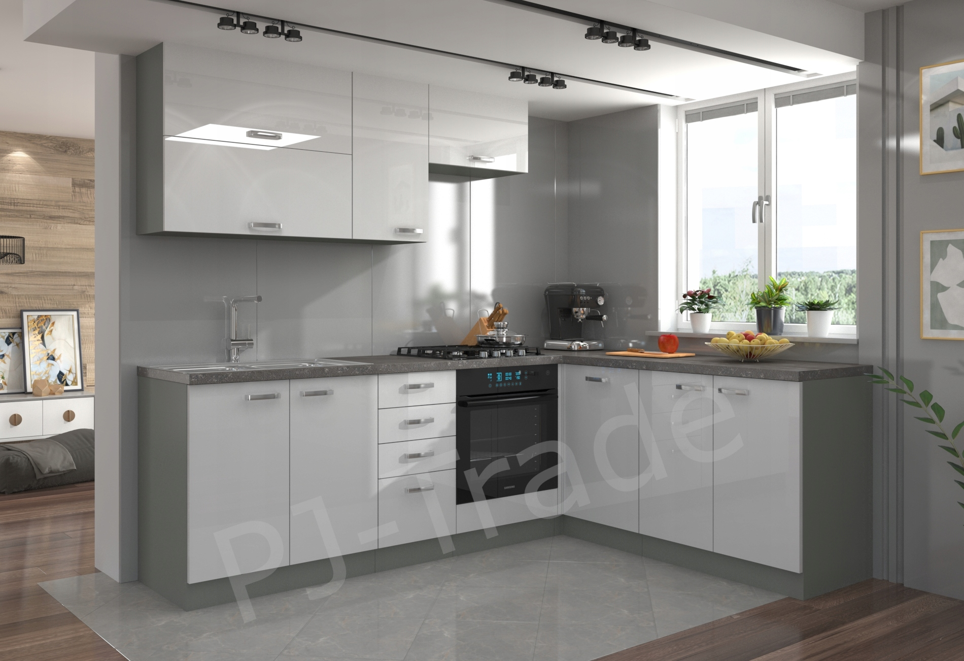 Мебель для кухни Бьянка - уголок белый глянец