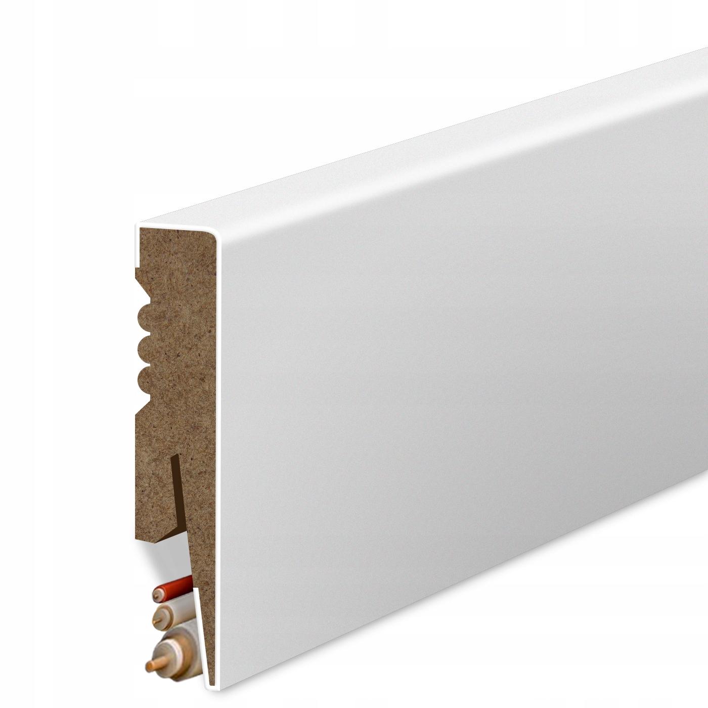 8 Планка напольного типа МДФ белая Декоративная Цоколь