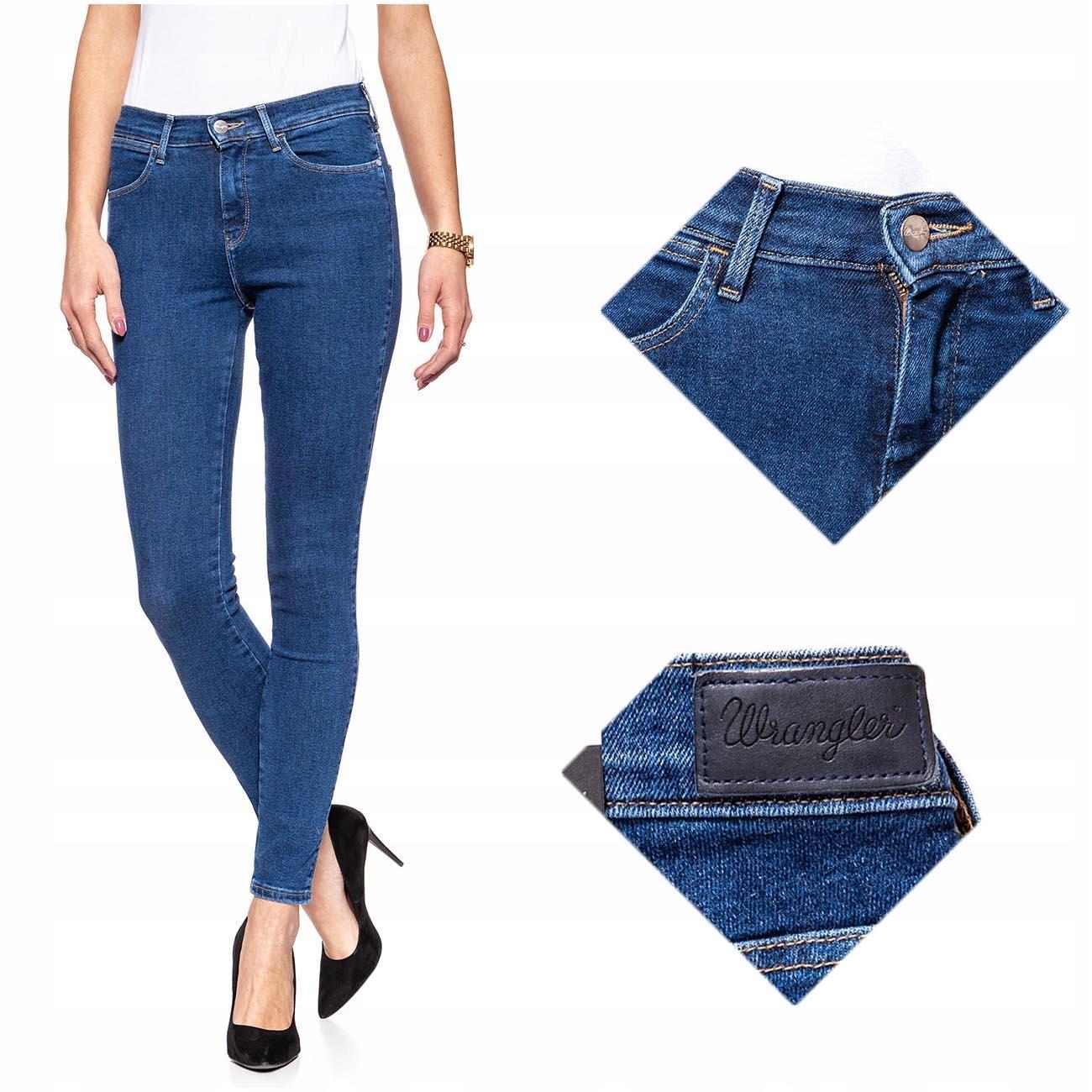 Wrangler High Skinny Spodnie Damskie Jeans W24 L32