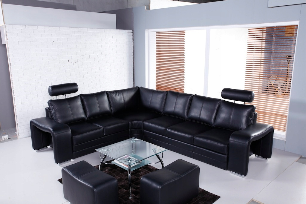 Современный угловой диван Enzo Leather 100%. БЕСПЛАТНЫЕ пуфы