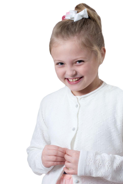 Biały Sweterek dla dziewczynki Komunia r.146