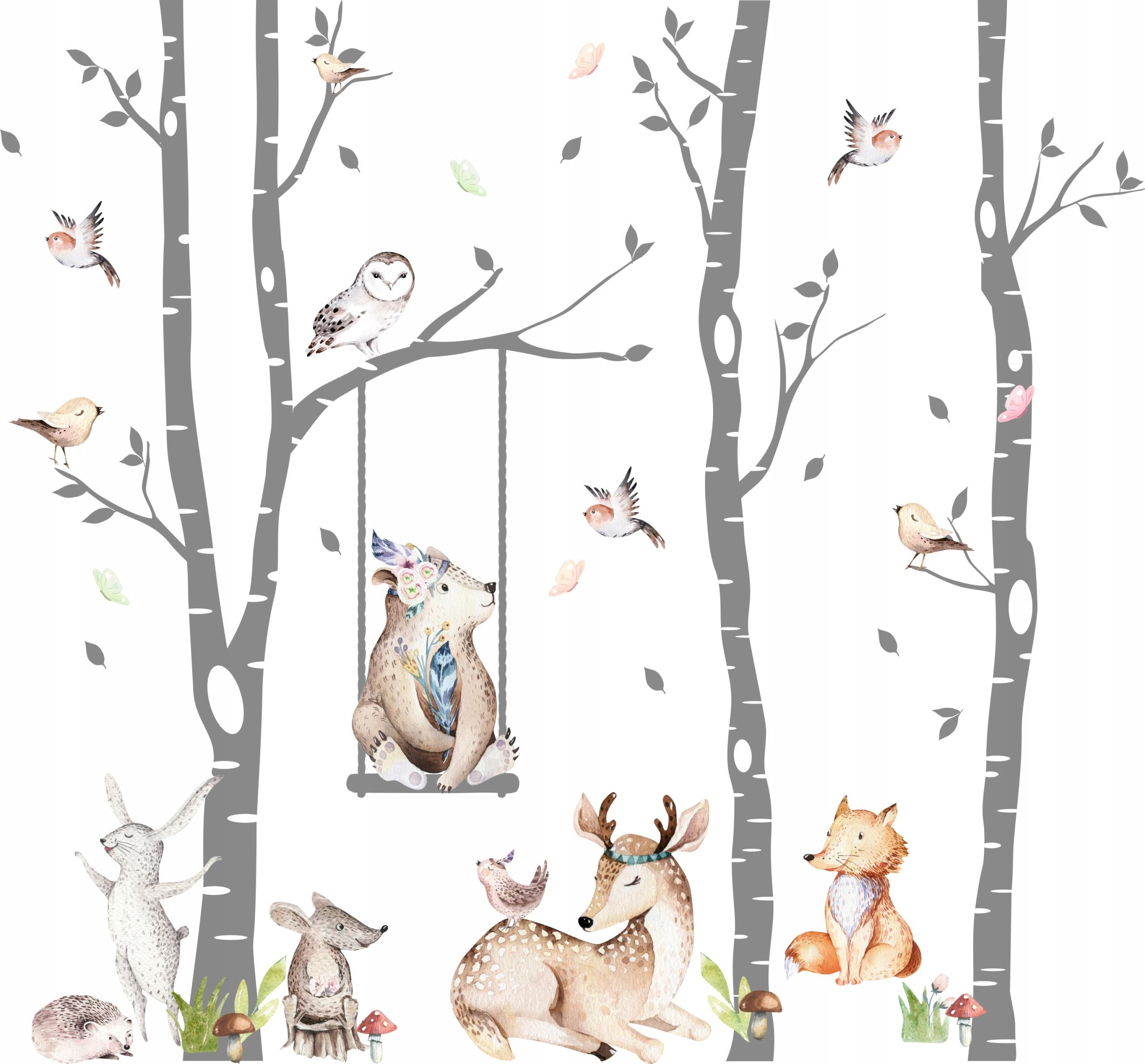Детские настенные наклейки Лесные животные 3х2,8 м
