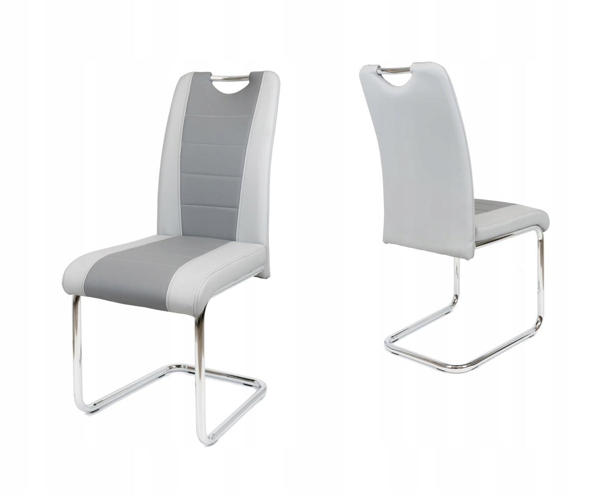 Szare krzesło do jadalni skóra ekologiczna KS034 S
