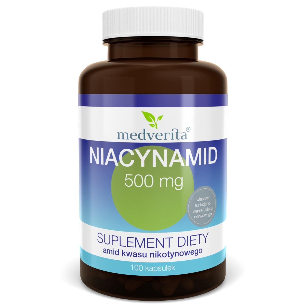 NIACYNAMID 500 mg Niacyna Witamina B3 - 100 kaps.