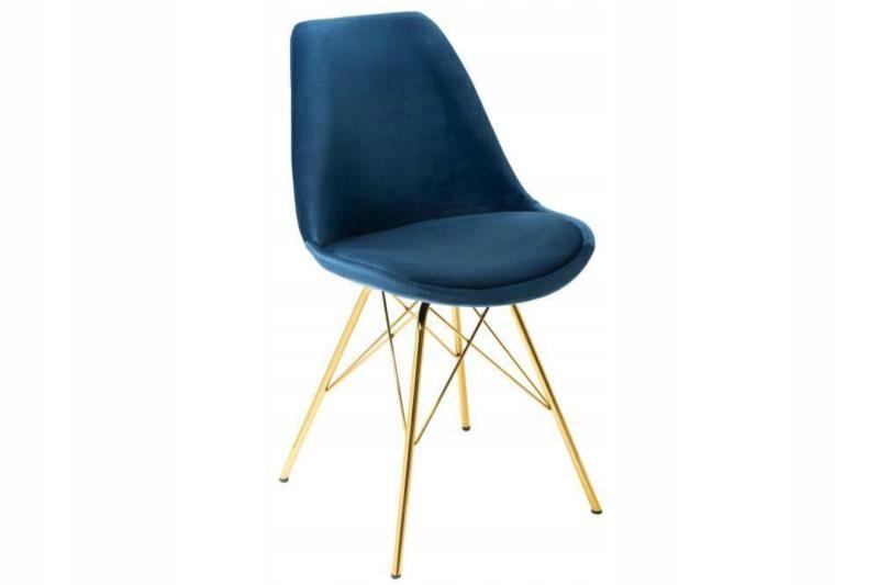 Moderná glamour tmavomodrá a zlatá stolička RETRO