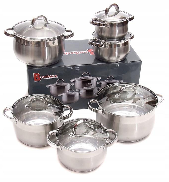 Стальные кастрюли 6 индукционных / газовых кастрюль без сковороды