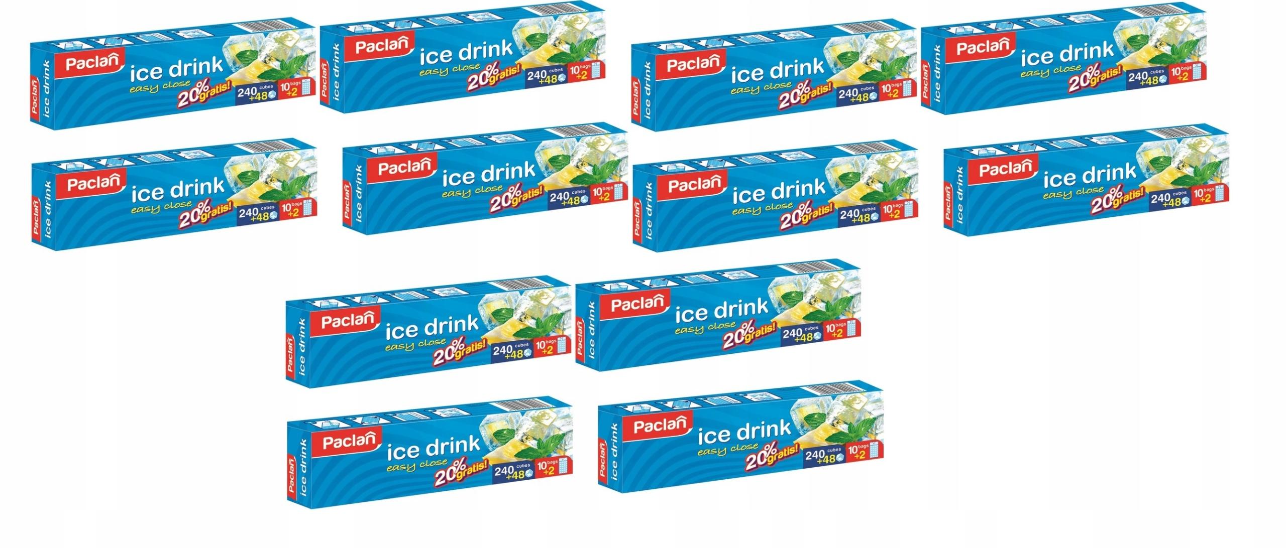 PACLAN Мешочки для льда 12 x 240szt + 20% БЕСПЛАТНО!