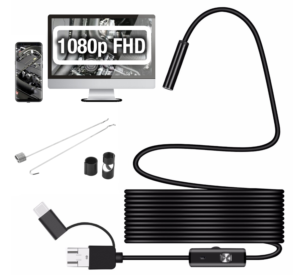 ENDOSKOP Kamera INSPEKCYJNA FHD 1080 ANDROID USB-C