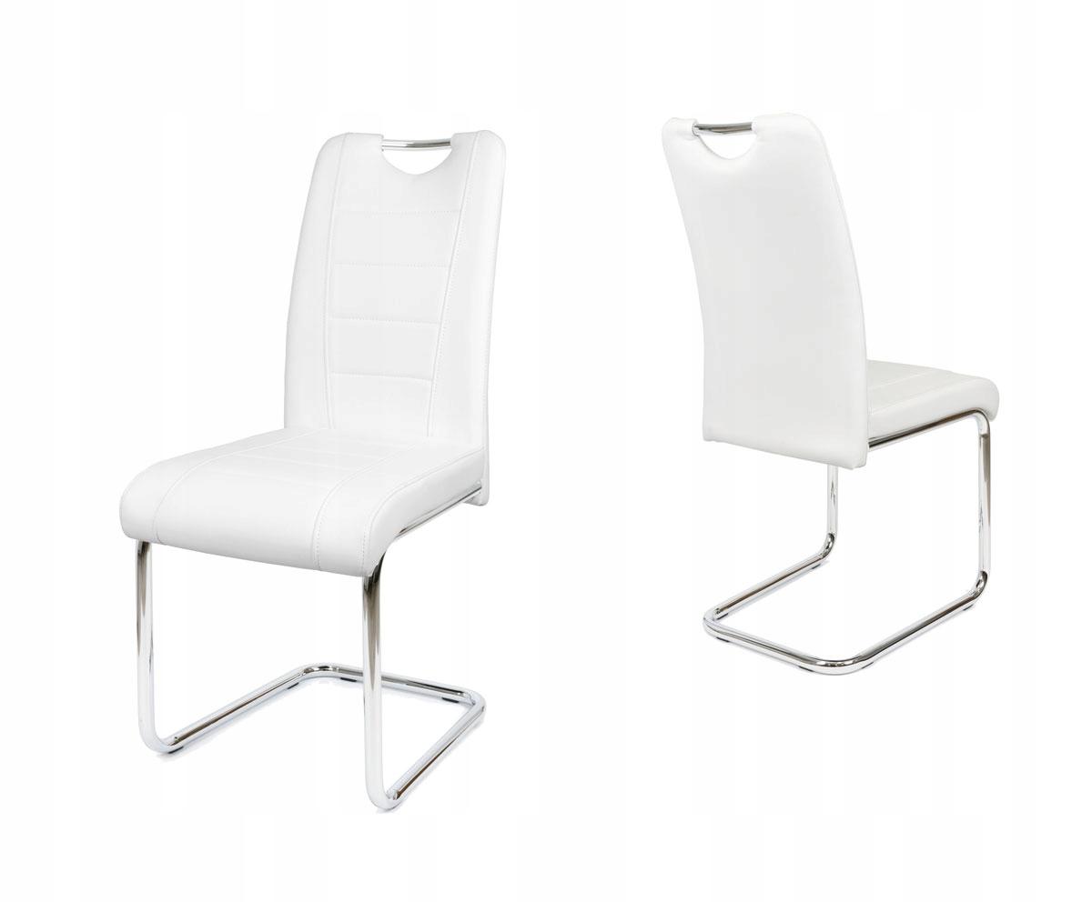 Białe krzesło do kuchni skóra ekologiczna KS034 B