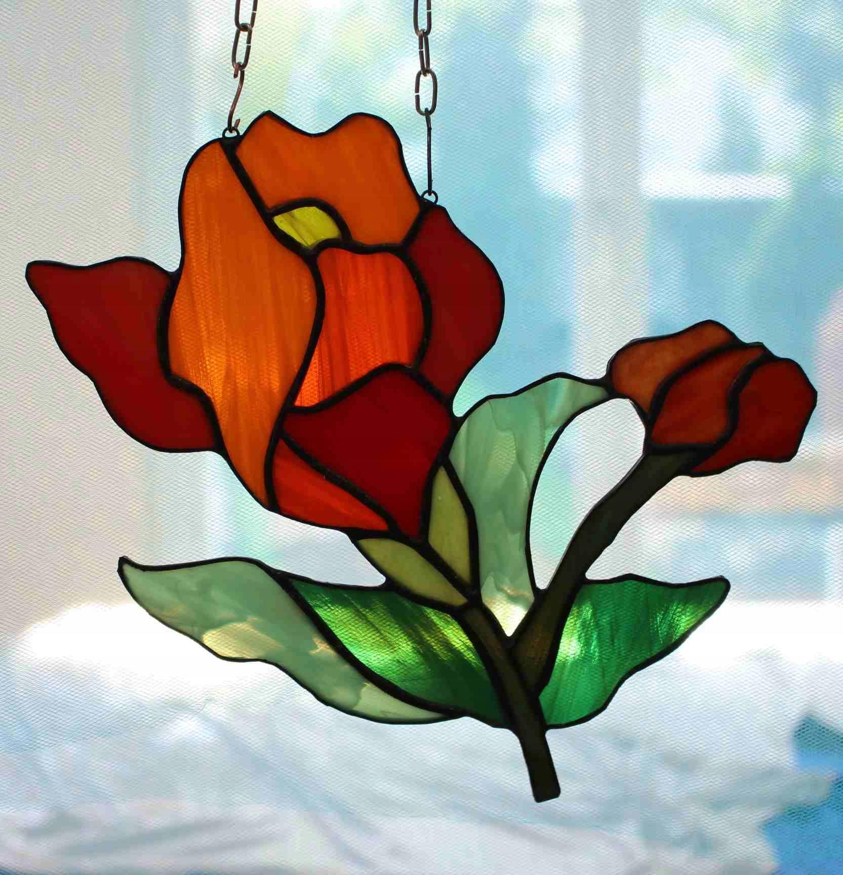 Витражный цветок с подарком ко Дню матери, бабушкин апельсин