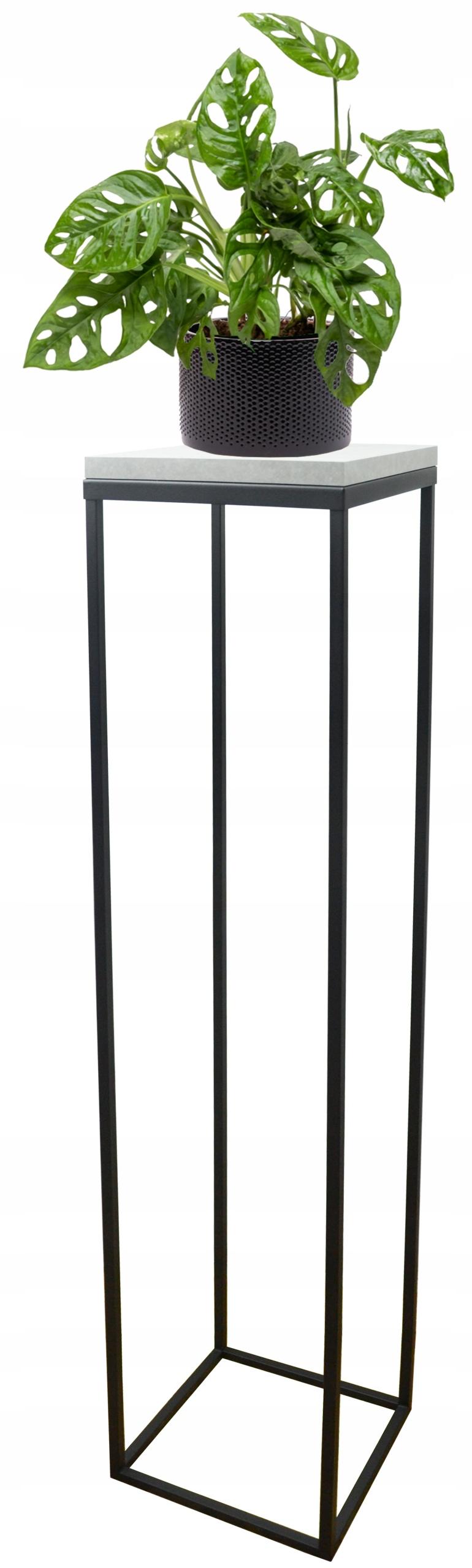 Подставка для растений металлическая loft черная столешница Light Concrete 100см
