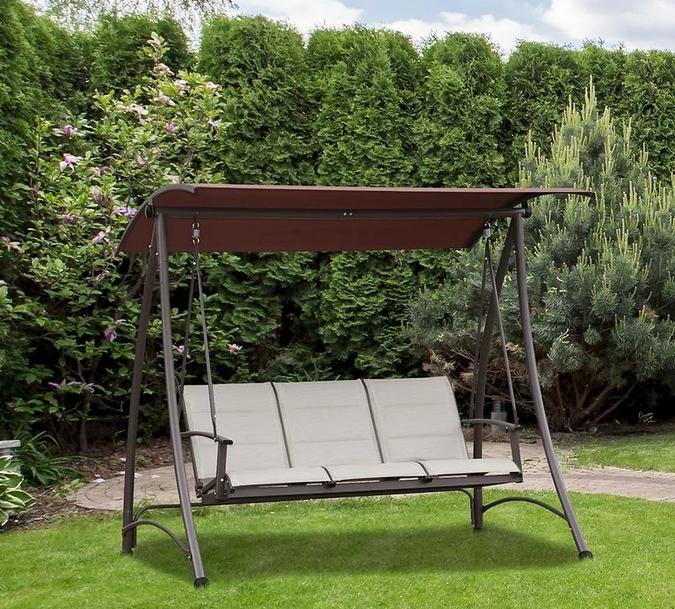 Hnedá textilná záhradná hojdačka pre 3 osoby  2021 Producent noname