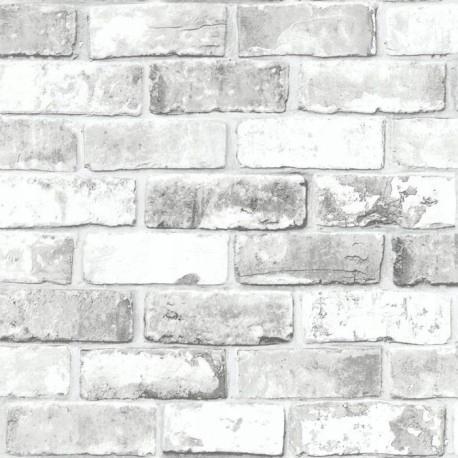 Обои белая серая Кирпич старый Стена камень 3D-эффект