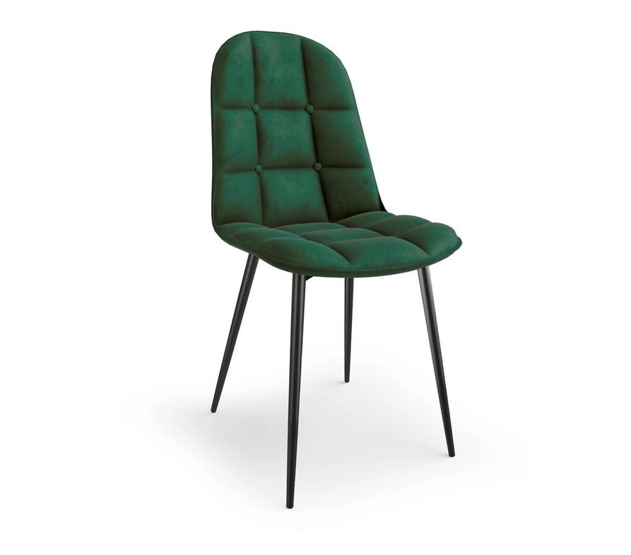 Krzesło Tapicerowane Pikowane Zieleń Welur Trevi2