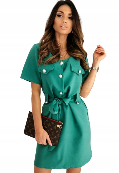 Sukienka z guzikami błękitna S