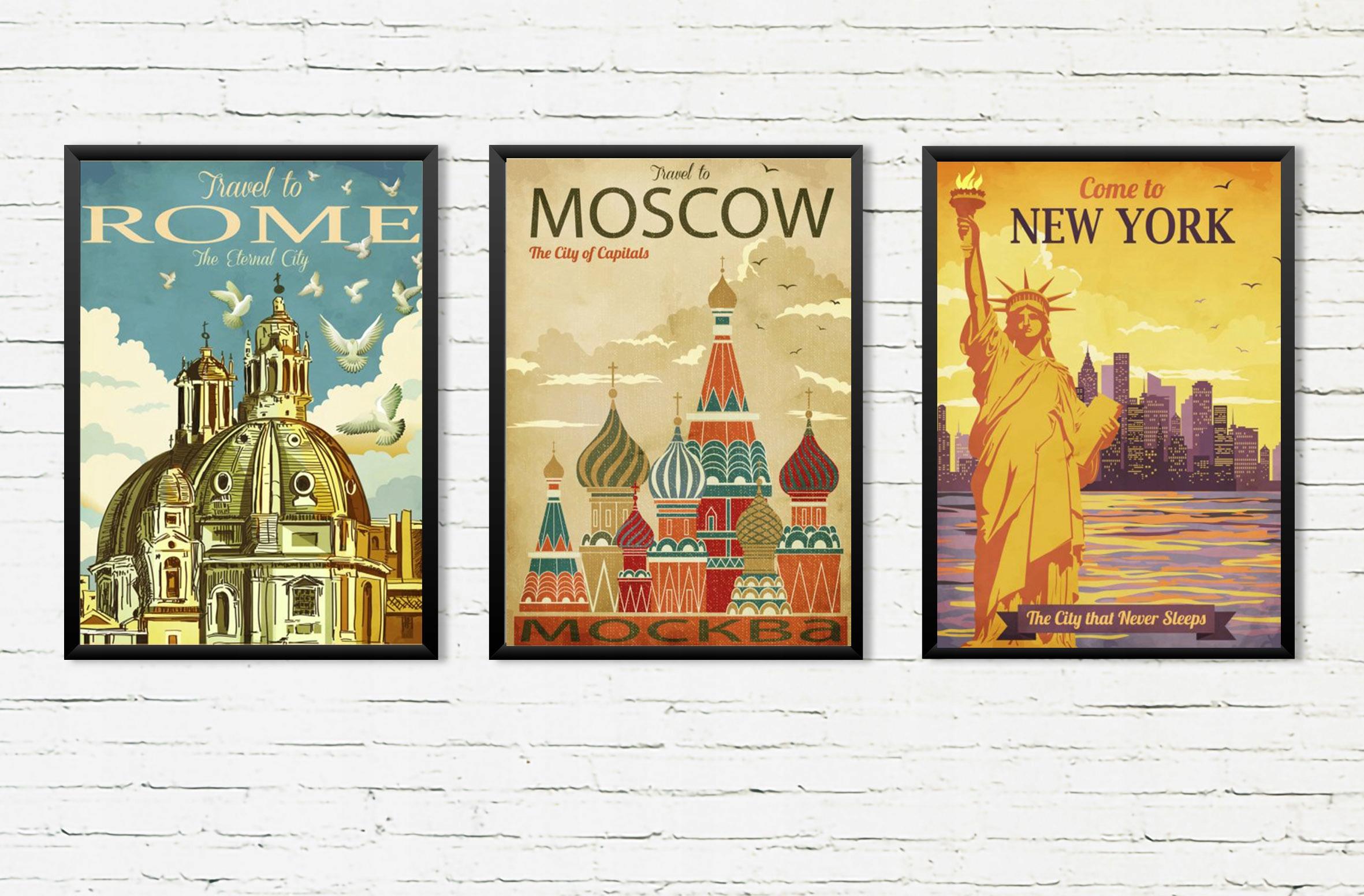 3 Plagáty A2 mesto retro new York, Rím, Moskva
