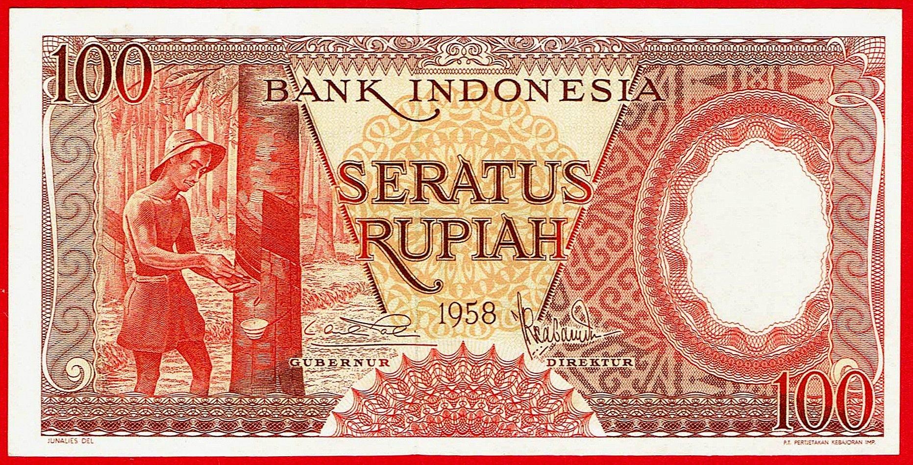 100 РУПИАХ - Индонезия - 1958 - штат UNC