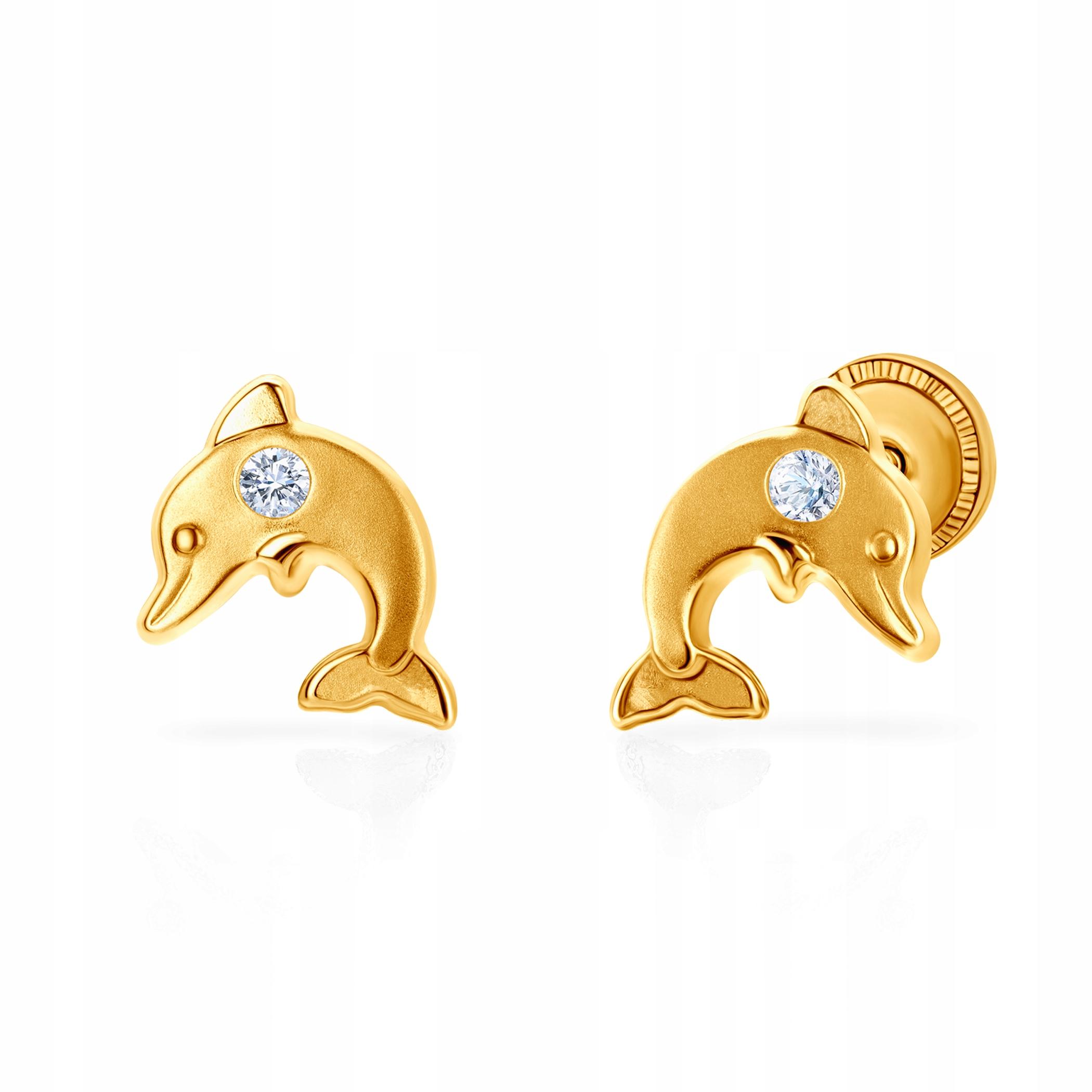 Náušnice delfíny Zvieratá: zlato, kryštály