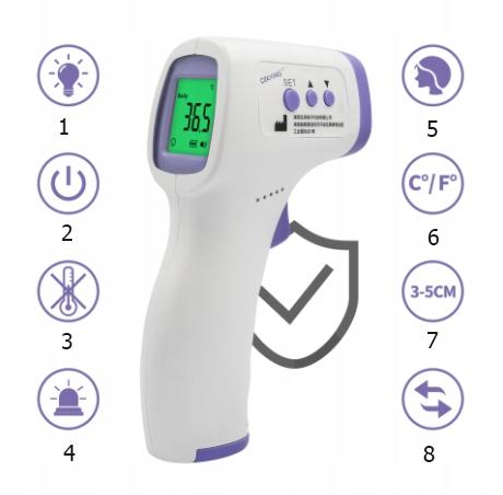 TERMOMETR BEZDOTYKOWY Medyczny Lekarski CERTYFIKAT Szerokość produktu 7.7 cm