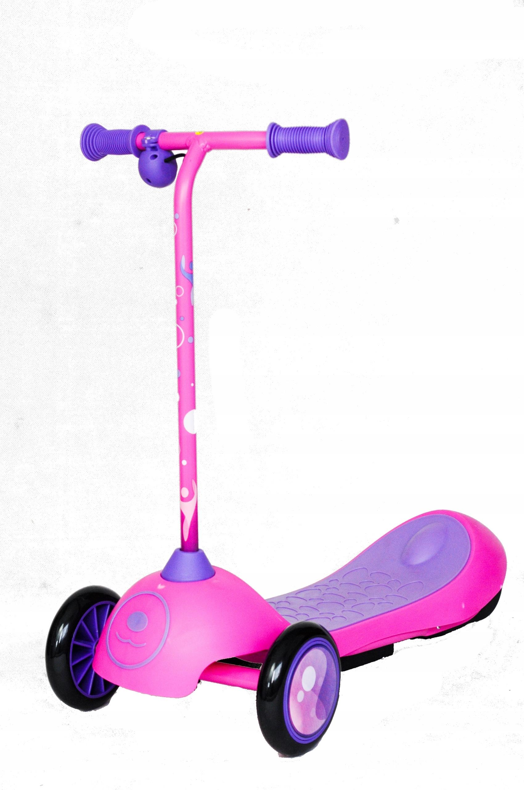 Ružový elektrický trojkolesový skúter pre deti