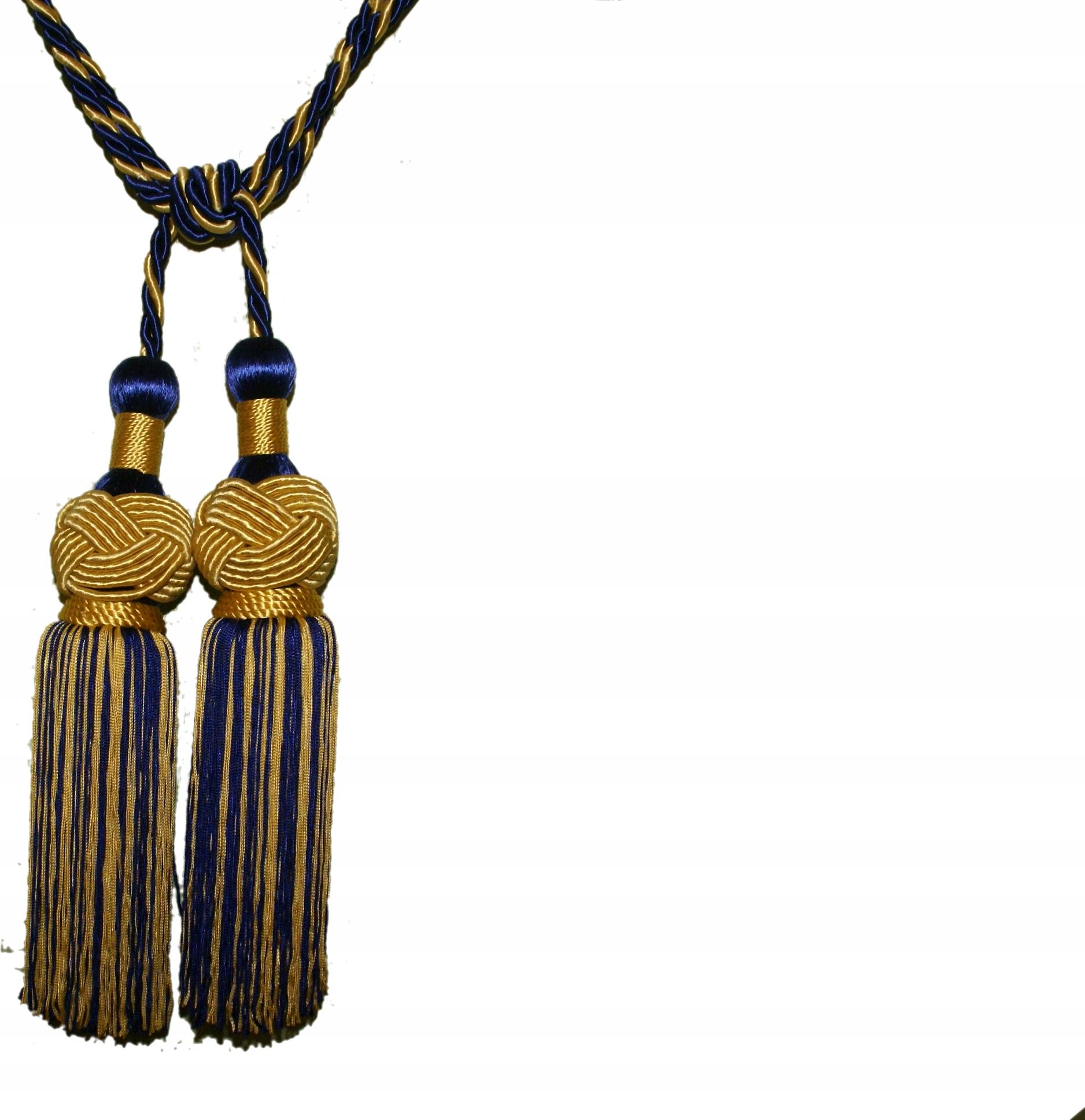 Chwost, sznur ozdobny Imola granatowo-złoty