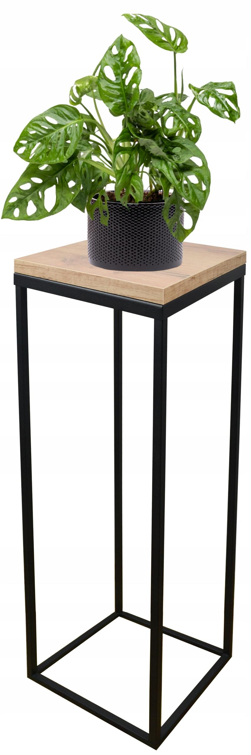 Металлическая подставка для растений loft black oak craft 70см