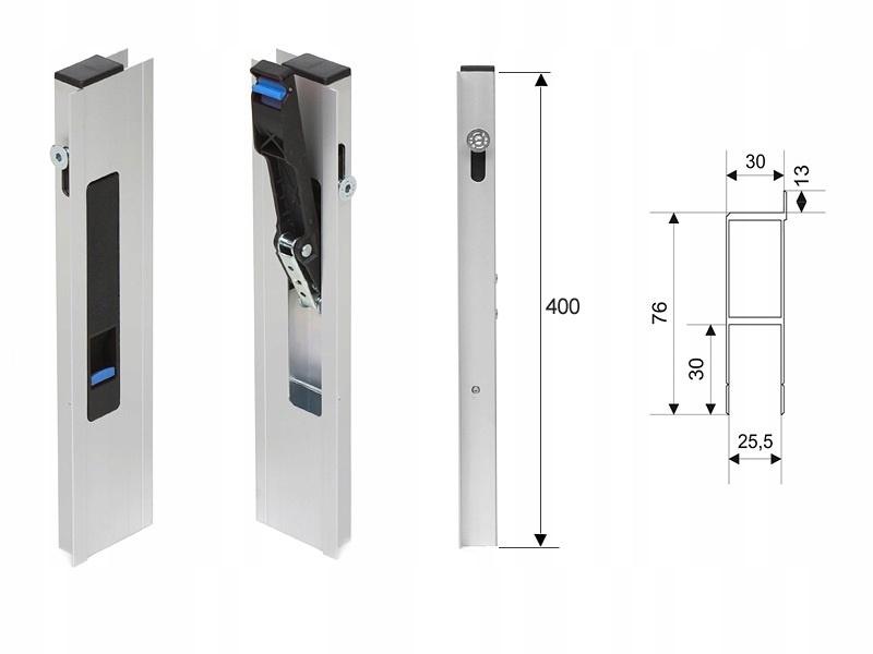 Вертикальный боковой замок из алюминия H400 с боковым ригелем P / L